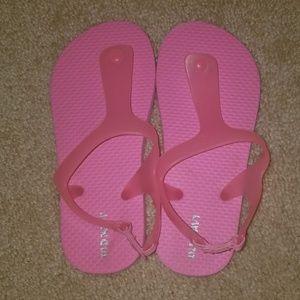 girls old navy hot pink flip flops *worn once*